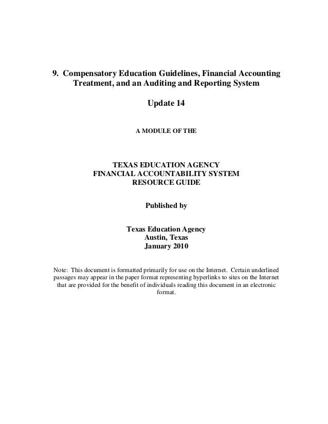 9. Compensatory Education Guidelines, Financial Accounting Treatment, and an Auditing and Reporting System Update 14 A MOD...