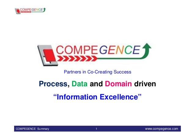 """Partners in Co-Creating Success            Process, Data and Domain driven                     """"Information Excellence""""COM..."""