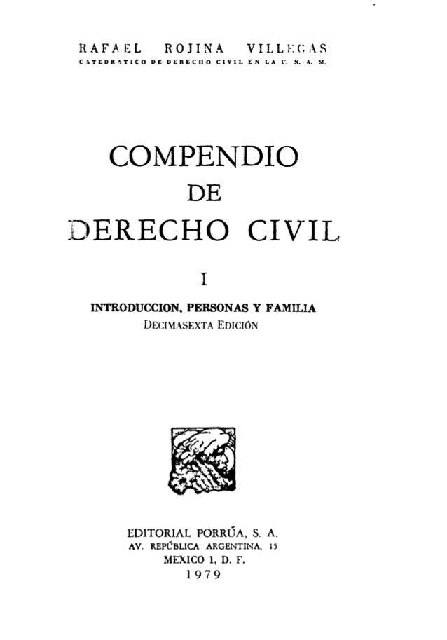 Compendio de Derecho Civil Tomo I - introduccion, personas y familia - rojina villegas Slide 3