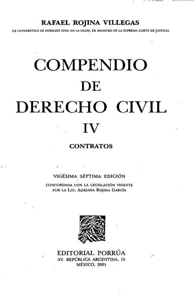 Compendio de derecho civil tomo IV - contratos - rojina villegas Slide 3
