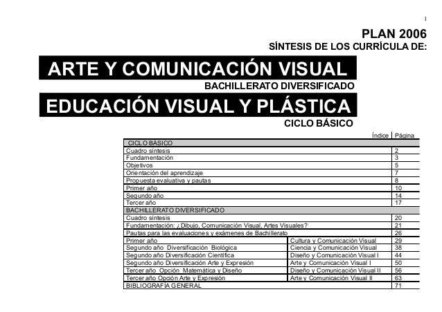 1  PLAN 2006  SÍNTESIS DE LOS CURRÍCULA DE:  ARTE Y COMUNICACIÓN VISUAL  EDUCACIÓN VISUAL Y PLÁSTICA  BACHILLERATO DIVERSI...
