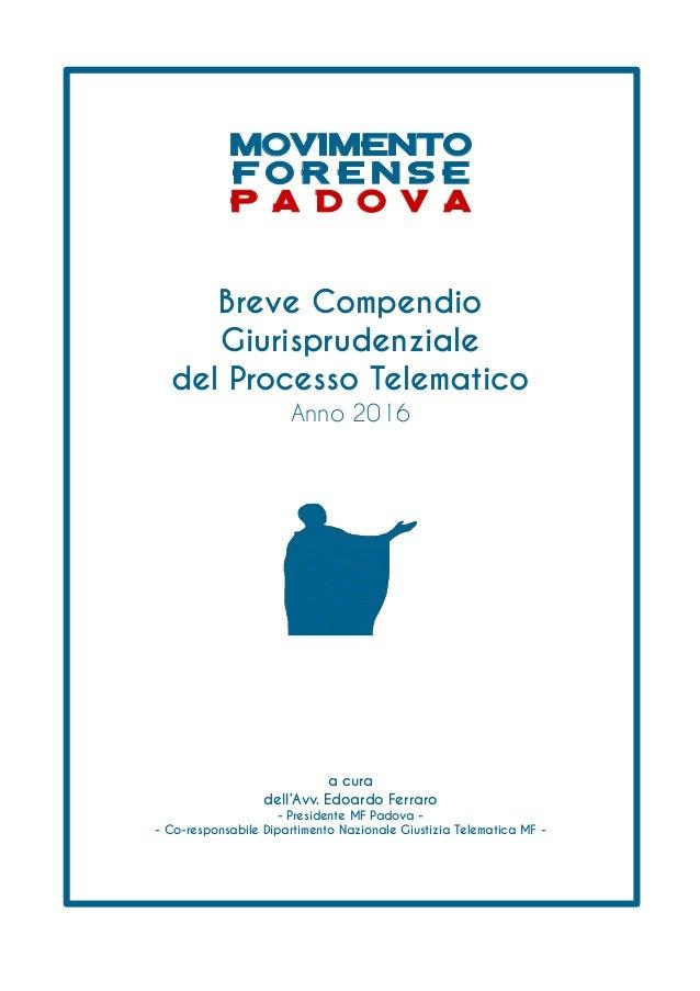 Breve Compendio Giurisprudenziale del Processo Telematico Anno 2016 a cura dell'Avv. Edoardo Ferraro - Presidente MF Padov...