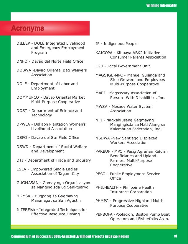 Compendium Of Successful Dole Assisted Livelihood Projects In Davao R