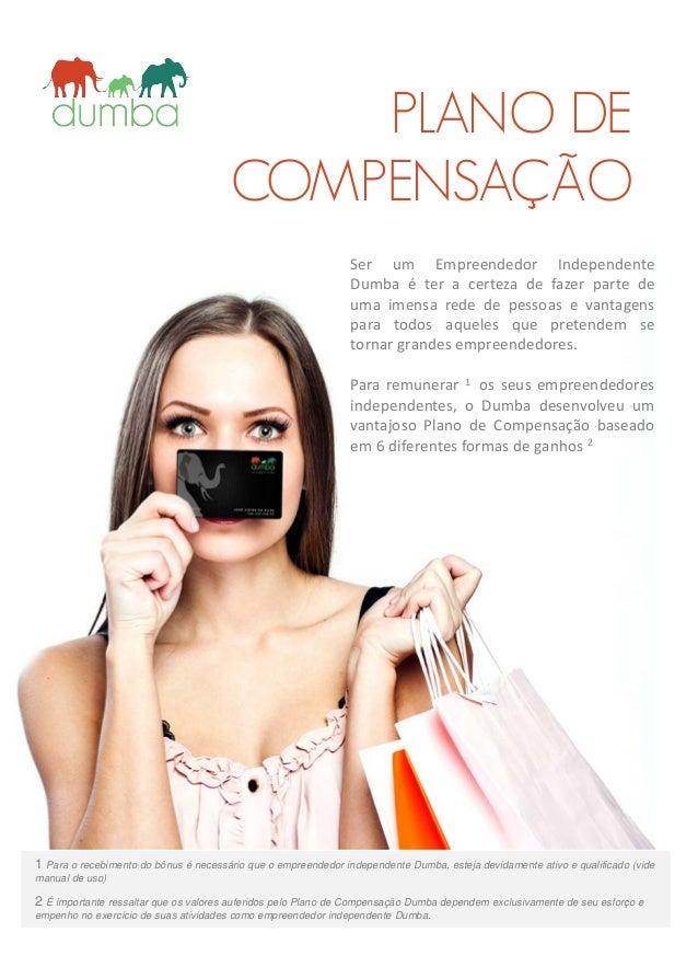 PLANO DE COMPENSAÇÃO 1 Para o recebimento do bônus é necessário que o empreendedor independente Dumba, esteja devidamente ...