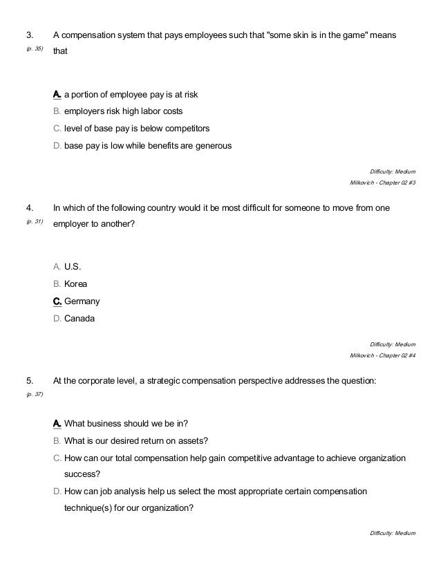 Compensation 10th Edition Milkovich Test Bank