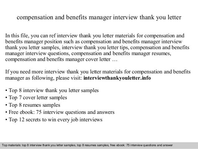 Compensation And Benefits Manager Interview Thank You Letter In This File,  You Can Ref Interview ...