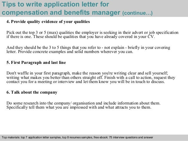 Great ... 4. Tips To Write Application Letter For Compensation And Benefits  Manager ...