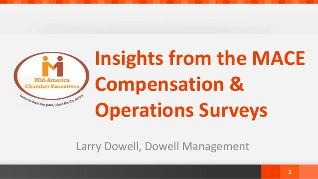 Insights from the MACE Compensation & Operations Surveys Larry Dowell, Dowell Management 1