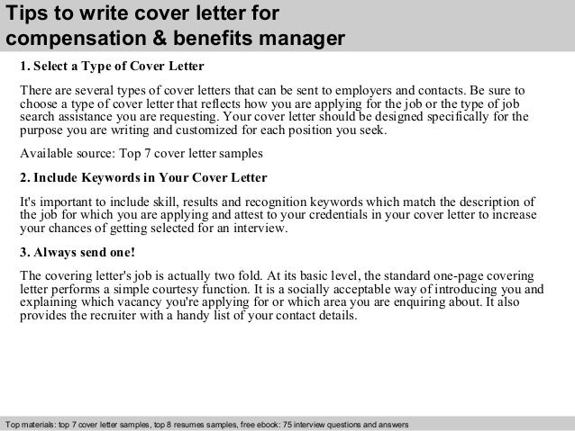 ... 3. Tips To Write Cover Letter For Compensation U0026 Benefits Manager ...