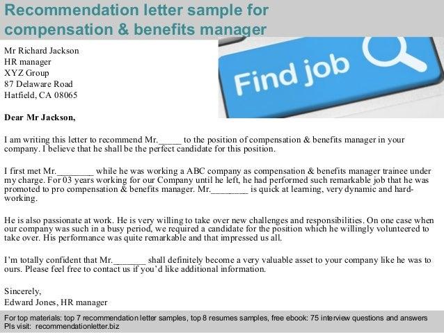 Compensation & benefits manager recommendation letter