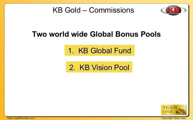 KB Gold – Commissions 1. KB Global Fund 2. KB Vision Pool Two world wide Global Bonus Pools