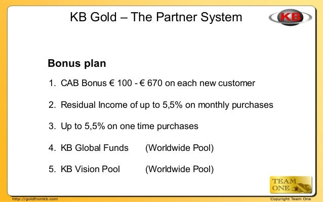 Bonus plan 1. CAB Bonus € 100 - € 670 on each new customer 2. Residual Income of up to 5,5% on monthly purchases 3. Up to ...
