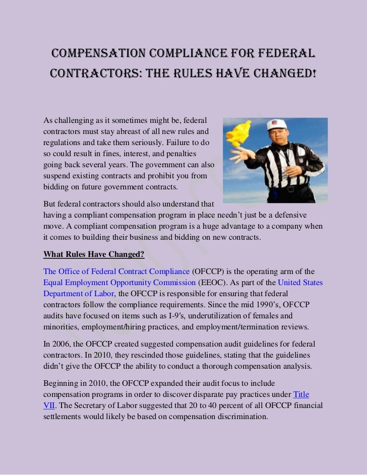 Compensation Compliance for Federal  Contractors: The Rules Have Changed!As challenging as it sometimes might be, federalc...