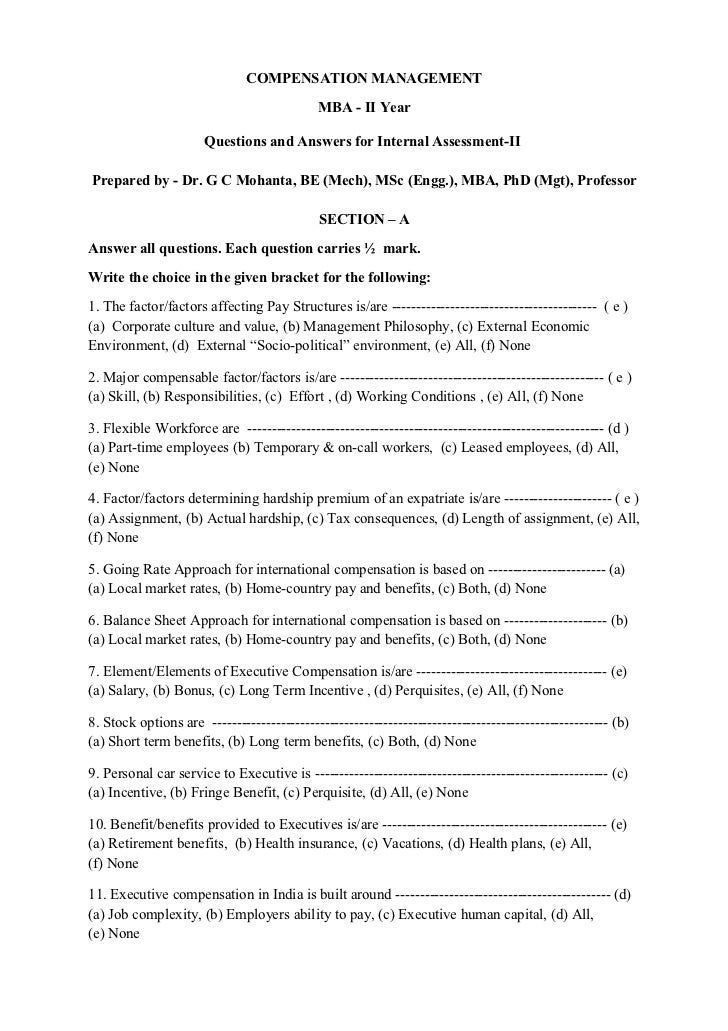 COMPENSATION MANAGEMENT                                             MBA - II Year                      Questions and Answe...