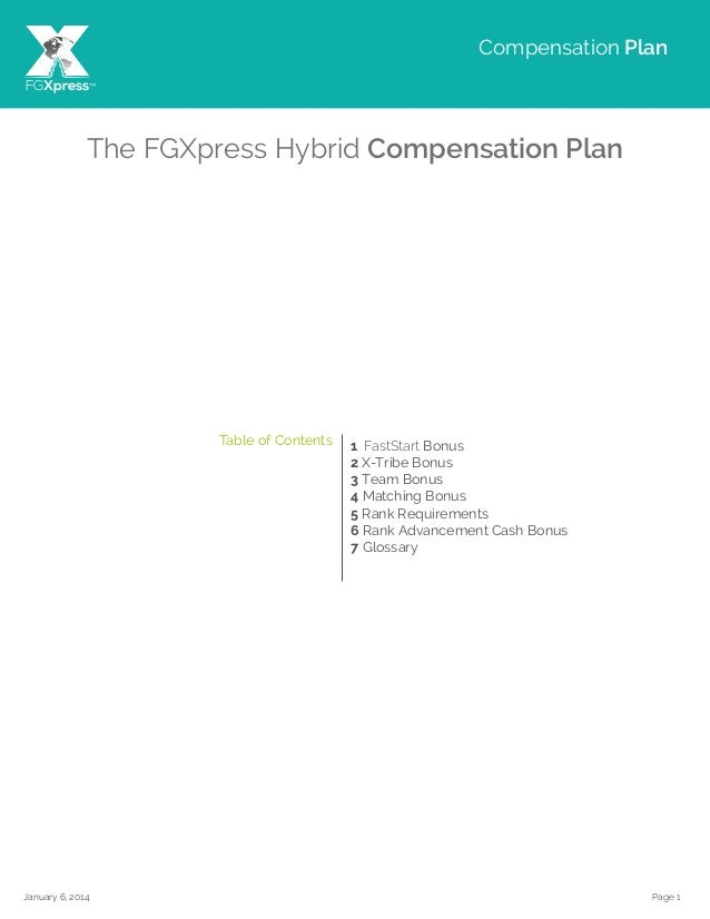 Page 1January 6, 2014 The FGXpress Hybrid Compensation Plan 1 FastStart Bonus 2 X-Tribe Bonus 3 Team Bonus 4 Matching Bonu...