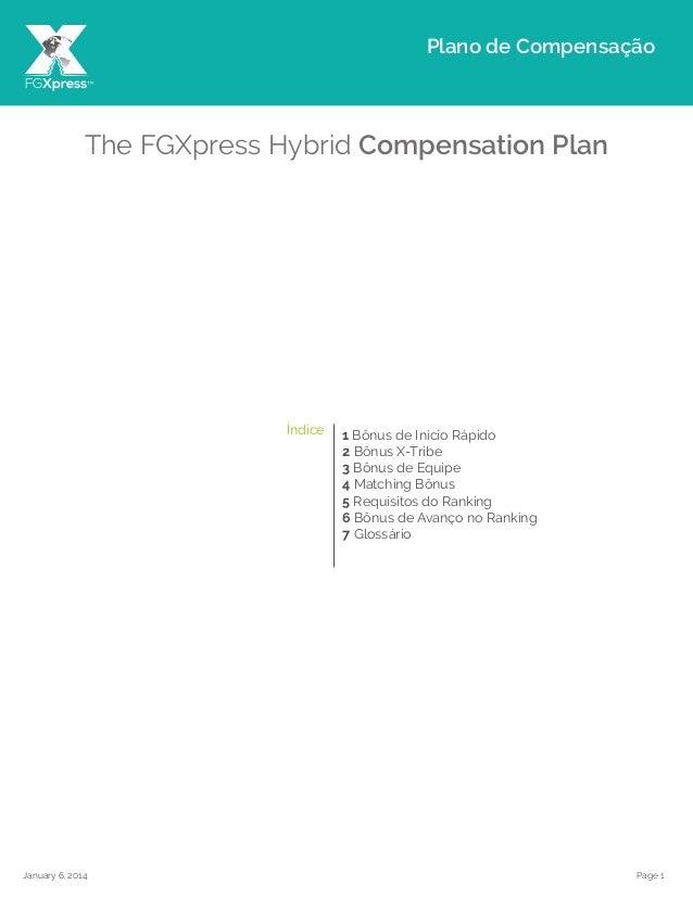 Page 1January 6, 2014 The FGXpress Hybrid Compensation Plan 1 Bônus de Início Rápido 2 Bônus X-Tribe 3 Bônus de Equipe 4 M...