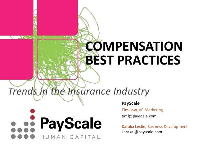 PayScale Tim Low, VP Marketing timl@payscale.com Karaka Leslie, Business Development karakal@payscale.com COMPENSATION BES...