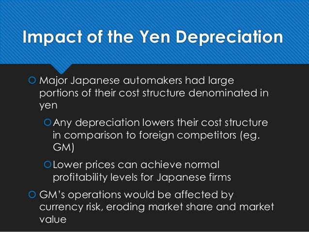 1 why is gm worried about the level of the yen Voices from both sides of the debate discuss the economic impact of introducing genetically modified foods into the marketplace on a domestic level, proponents of gm products see the opportunity to develop strain-resistant crops that cost less to manufacture.
