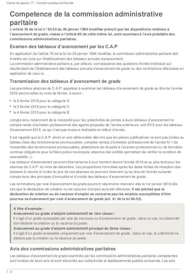 Centre de gestion 77 - Fonction publique territoriale /1 2 Competence de la commission administrative paritaire L'article ...