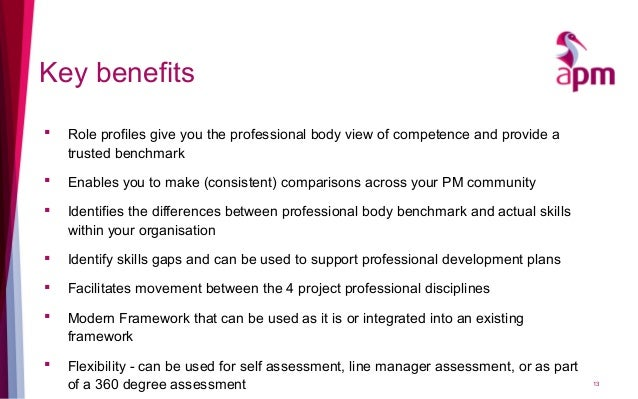 Key benefits  Role profiles give you the professional body view of competence and provide a trusted benchmark  Enables y...