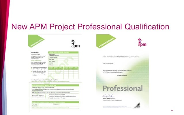 New APM Project Professional Qualification 16