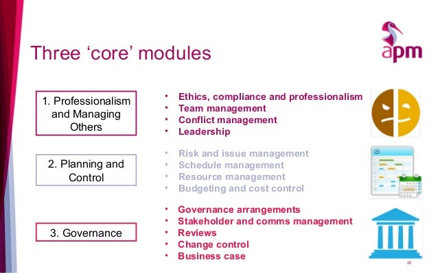 Three 'core' modules 1. Professionalism and Managing Others 2. Planning and Control 3. Governance • Ethics, compliance and...