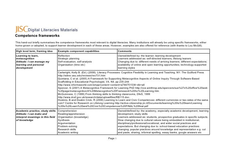 Digital Literacies Materials Competence frameworks This hand-out briefly summarises the competence frameworks most relevan...