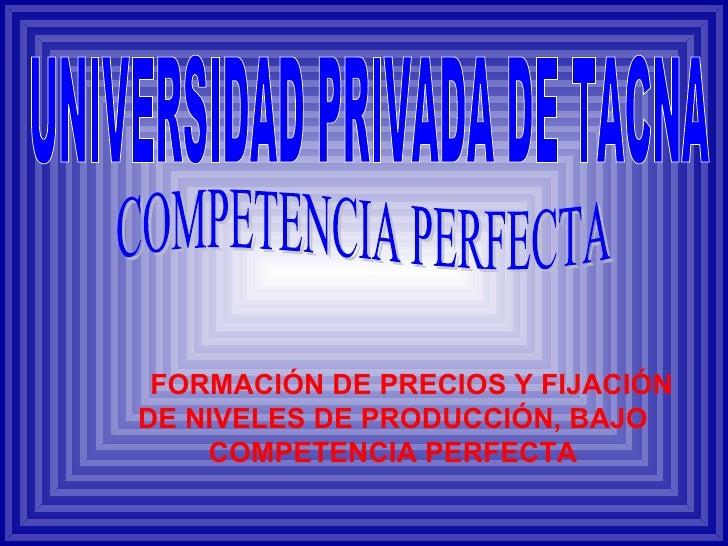 FORMACIÓN DE PRECIOS Y FIJACIÓN DE NIVELES DE PRODUCCIÓN, BAJO COMPETENCIA PERFECTA COMPETENCIA PERFECTA UNIVERSIDAD PRIVA...