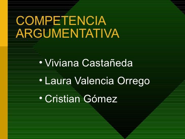 COMPETENCIA ARGUMENTATIVA <ul><ul><li>Viviana Castañeda </li></ul></ul><ul><ul><li>Laura Valencia Orrego </li></ul></ul><u...