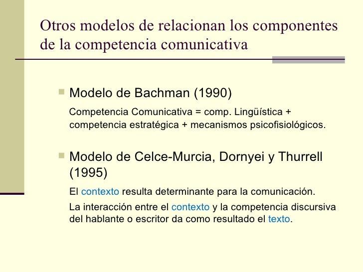 Otros modelos de relacionan los componentesde la competencia comunicativa     Modelo de Bachman (1990)      Competencia C...