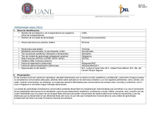 PROGRAMA ANALÍTICO. 1. Datos de identificación: • Nombre de la institución y de la dependencia (en papelería oficial de la...