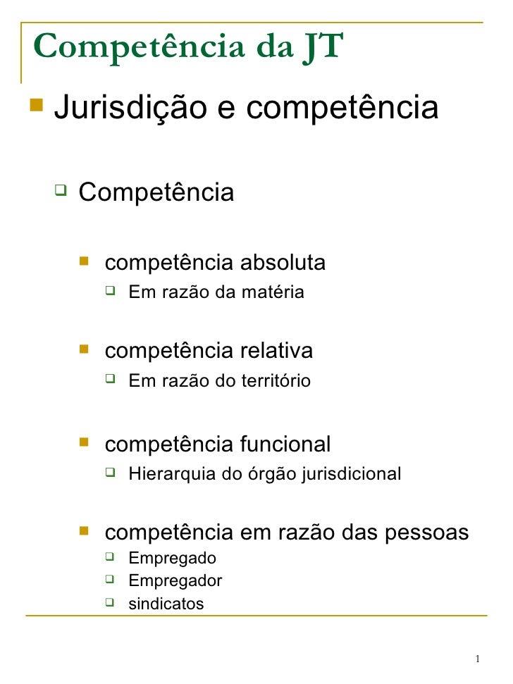 Competência da JT <ul><li>Jurisdição e competência </li></ul><ul><ul><li>Competência </li></ul></ul><ul><ul><ul><li>compet...