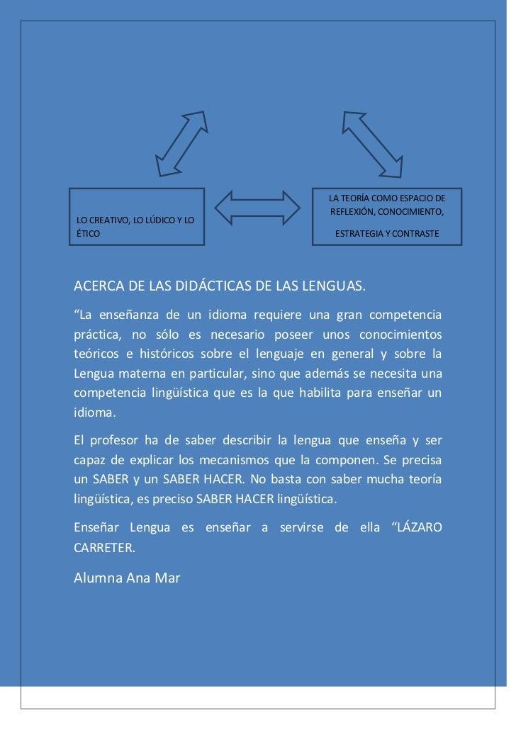 LA TEORÍA COMO ESPACIO DE                                          REFLEXIÓN, CONOCIMIENTO,LO CREATIVO, LO LÚDICO Y LOÉTIC...
