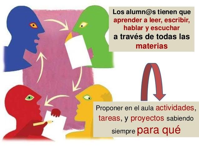 Los alumn@s tienen que aprender a leer, escribir, hablar y escuchar a través de todas las materias Proponer en el aula act...
