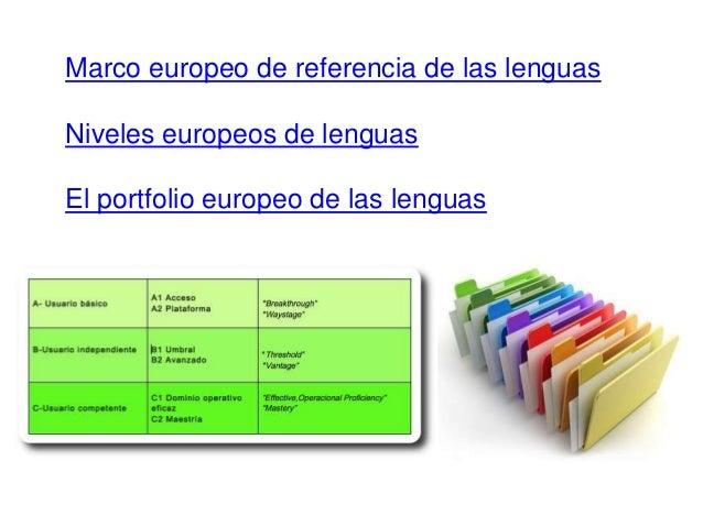 Marco europeo de referencia de las lenguas Niveles europeos de lenguas El portfolio europeo de las lenguas