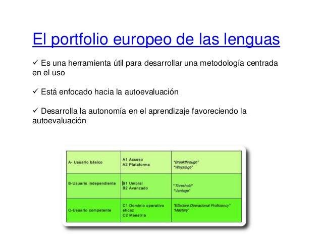 El portfolio europeo de las lenguas  Es una herramienta útil para desarrollar una metodología centrada en el uso  Está e...