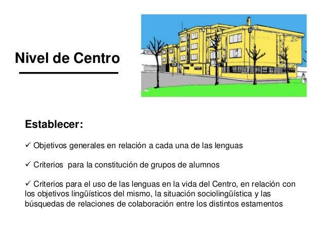 Nivel de Centro Establecer:  Objetivos generales en relación a cada una de las lenguas  Criterios para la constitución d...