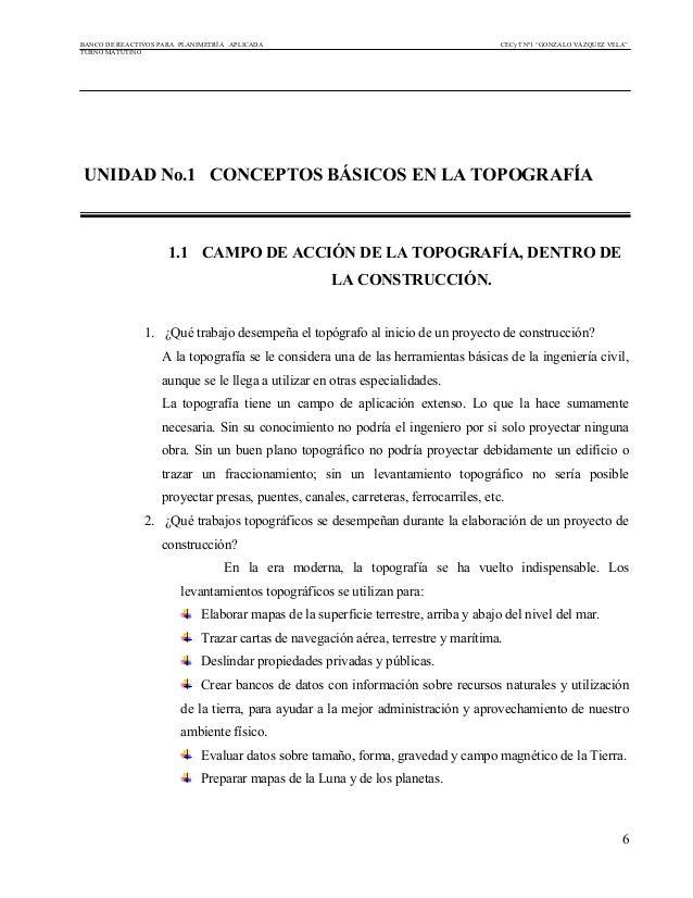 """BANCO DE REACTIVOS PARA PLANIMETRÍA APLICADA CECyT Nº1 """"GONZALO VÁZQUEZ VELA"""" TURNO MATUTINO 6 UNIDAD No.1 CONCEPTOS BÁSIC..."""