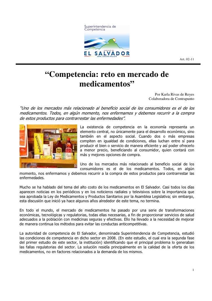 """Art. 02-11               """"Competencia: reto en mercado de                       medicamentos""""                             ..."""