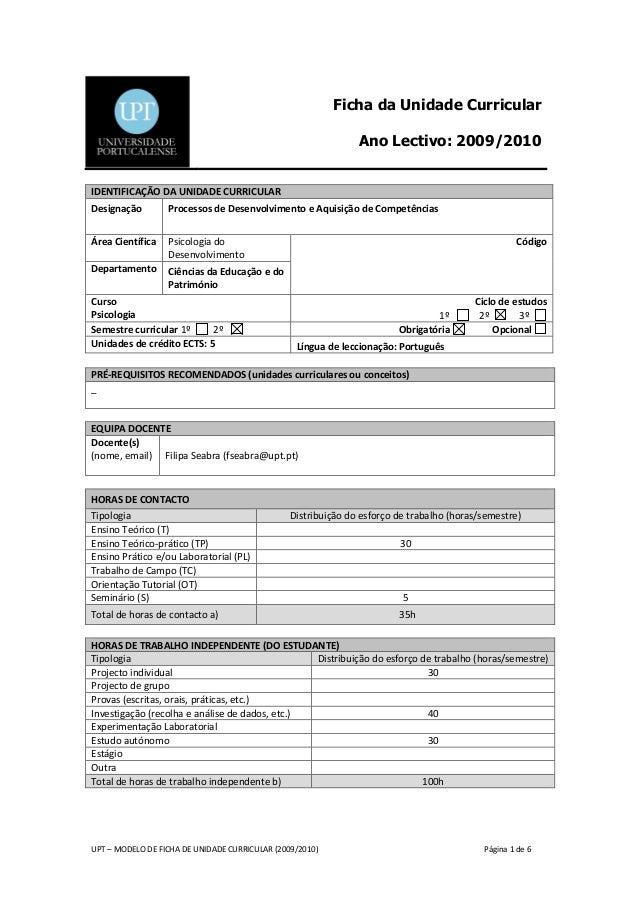Ficha da Unidade Curricular                                                               Ano Lectivo: 2009/2010IDENTIFICA...