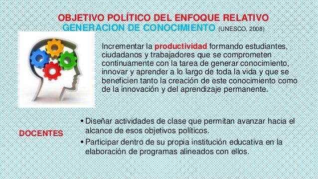 OBJETIVO POLÍTICO DEL ENFOQUE RELATIVO GENERACION DE CONOCIMIENTO (UNESCO, 2008) Incrementar la productividad formando est...