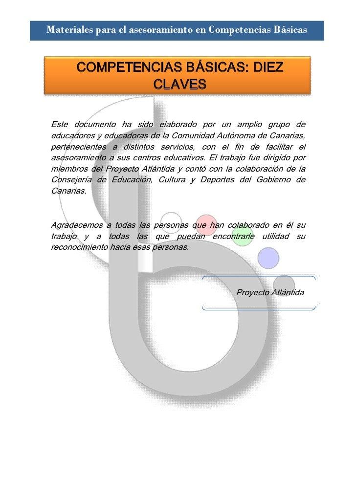Materiales para el asesoramiento en Competencias Básicas          COMPETENCIASBÁSICAS:DIEZ                CLAVES  Este...