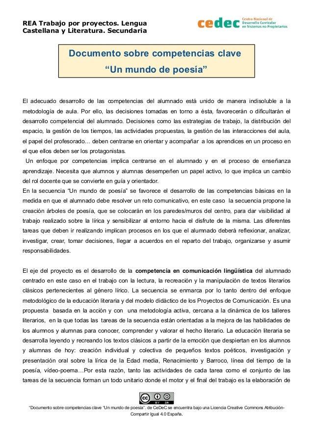 """REA Trabajo por proyectos. Lengua Castellana y Literatura. Secundaria Documento sobre competencias clave """"Un mundo de poes..."""
