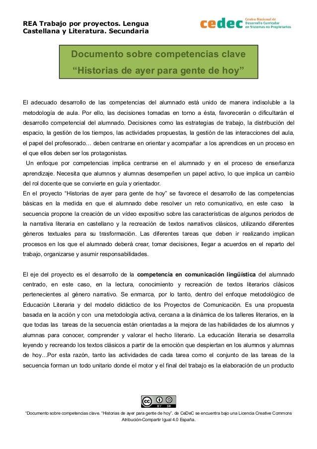 """REA Trabajo por proyectos. Lengua Castellana y Literatura. Secundaria Documento sobre competencias clave """"Historias de aye..."""