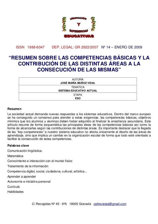 """ISSN 1988-6047  DEP. LEGAL: GR 2922/2007 Nº 14 – ENERO DE 2009  """"RESUMEN SOBRE LAS COMPETENCIAS BÁSICAS Y LA CONTRIBUCIÓN ..."""