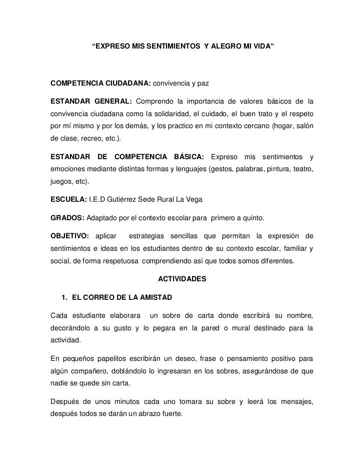 """""""EXPRESO MIS SENTIMIENTOS Y ALEGRO MI VIDA""""COMPETENCIA CIUDADANA: convivencia y pazESTANDAR GENERAL: Comprendo la importan..."""