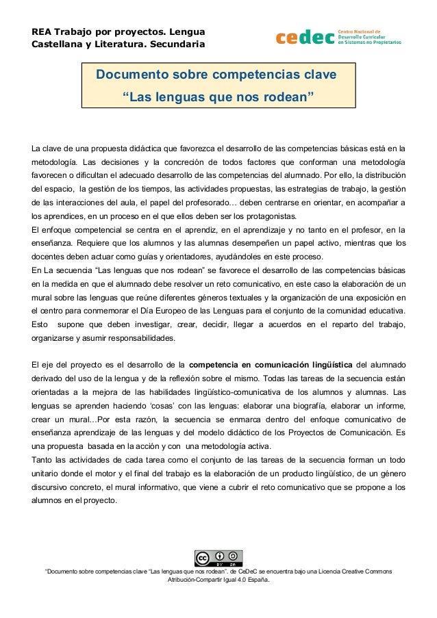 """REA Trabajo por proyectos. Lengua Castellana y Literatura. Secundaria Documento sobre competencias clave """"Las lenguas que ..."""