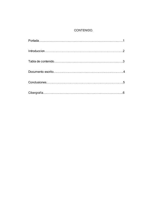 CONTENIDO. Portada…………………………………………………………………………1 Introduccion……………………………………………………………………2 Tabla de contenido…………………………………………...