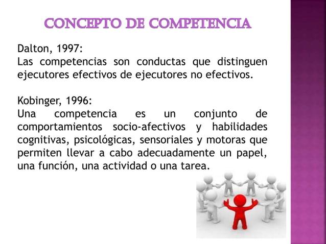 Dalton, 1997: Las competencias son conductas que distinguen ejecutores efectivos de ejecutores no efectivos. Kobinger, 199...