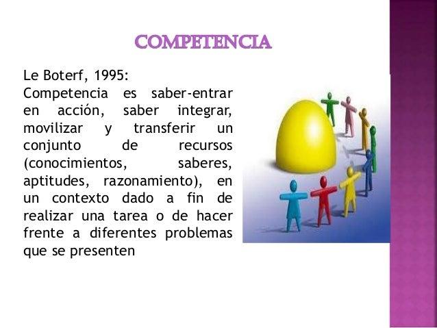 Le Boterf, 1995: Competencia es saber-entrar en acción, saber integrar, movilizar y transferir un conjunto de recursos (co...
